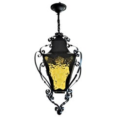 French Wrought Iron Lantern with Colored Glass, Early 20th Century