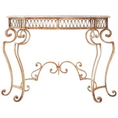 French Wrought Iron Marble Top Console Table
