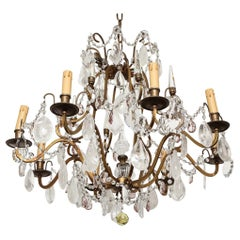 French Wrought-Iron Rock Crystal Draped Chandelier