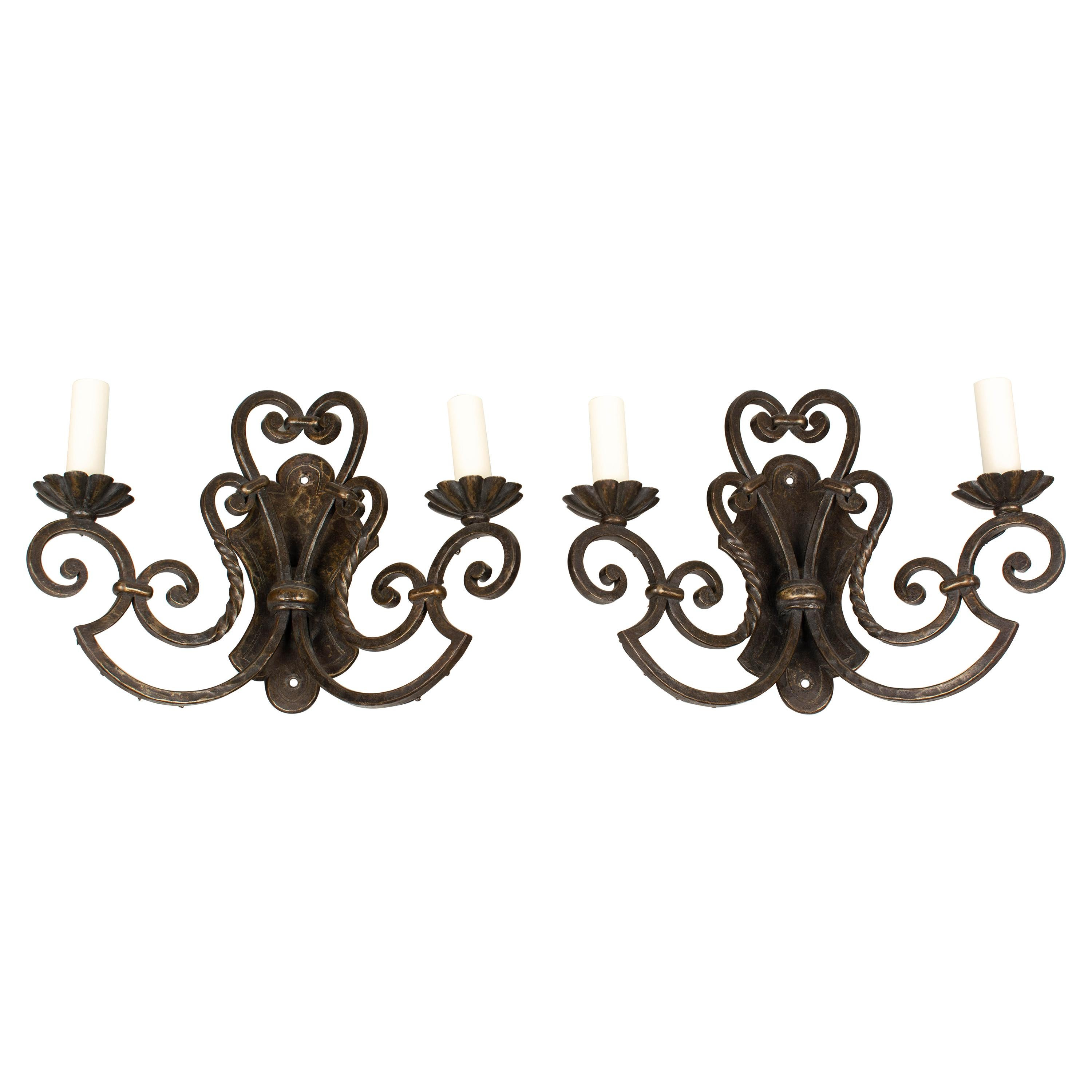 French Wrought Iron Sconces Pair
