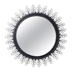 French Wrought Iron Sunburst Mirror, 1960s