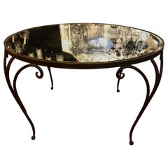 French Wrought Iron Table with Mirror Top