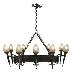 French Wrought Iron Ten-Light Chandelier