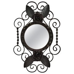 French Wrought Iron Wall Mirror with Scroll Work and Floral Details, 1940s