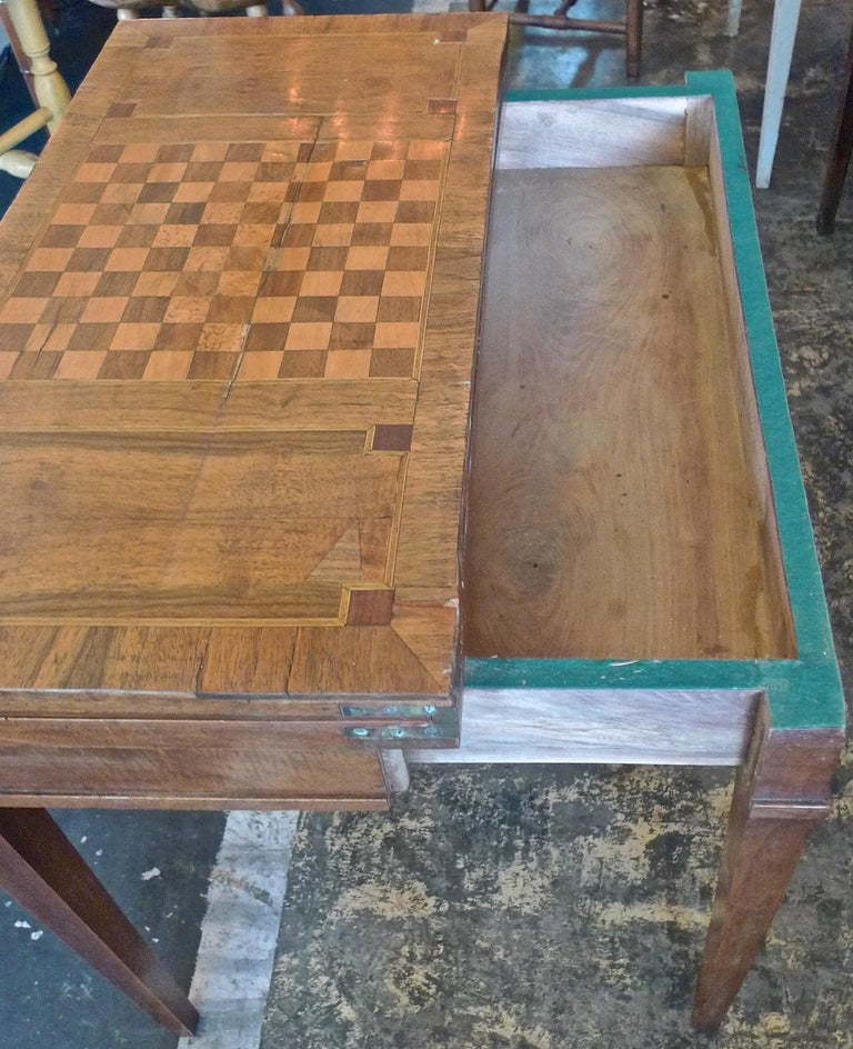French 19th Century Biedermeier Table With Inlay Top And One Large Drawer For 4