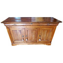 French XIX Fruitwood Buffet With 3 Doors, 3 Drawers And Original Hardware