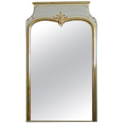 French XIX Gold-Leaf and Painted Trumeau Mirror with Original Mirror Glass