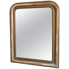 French XIX Gold-Leaf Louis Philippe Mirror with Original Glass