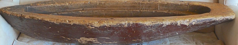 French XIX hand carved and hand painted wood canoe.
