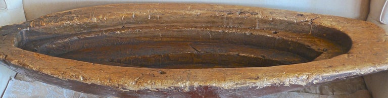 Hand-Carved French XIX Hand Carved and Hand Painted Wood Canoe For Sale