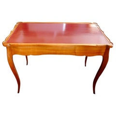 French XIX Handcrafted Hand Painted Game Table or Desk with 2 Large End Drawers