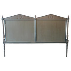 French Louis XVI Hand Carved Hand Painted Extra Wide Bed Headboard
