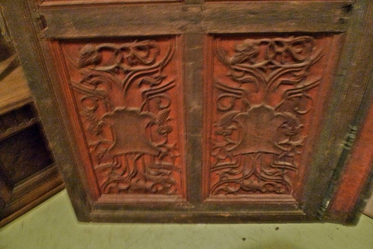 French XIX Louis XVI hand painted carved decorative door with original paint.