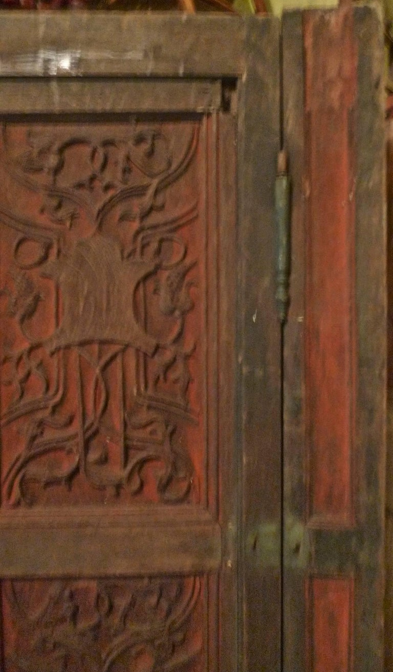 Hand-Painted French xix Louis XVI Hand Painted Carved Decorative Door with Original Paint For Sale