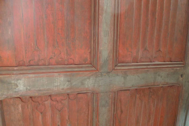 French xix Louis XVI Hand Painted Carved Decorative Door with Original Paint In Distressed Condition For Sale In Santa Monica, CA