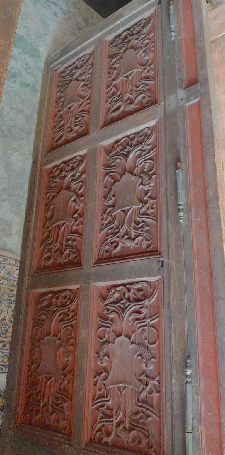 French xix Louis XVI Hand Painted Carved Decorative Door with Original Paint For Sale 1