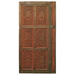 French xix Louis XVI Hand Painted Carved Decorative Door with Original Paint
