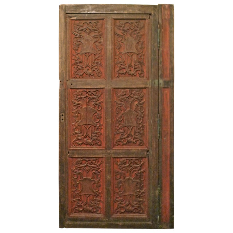 French xix Louis XVI Hand Painted Carved Decorative Door with Original Paint For Sale