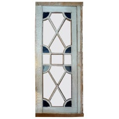 French XIX Louis XVI Stain Glass Framed Window or Door, 4 Glass Panels Missing