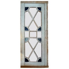 French XIX Louis XVI Stain Glass Framed Window or Door, 5 Glass Panels Missing