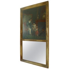 French XIX Mother and Child Trumeau Mirror with Original Glass, Tear in Canvas