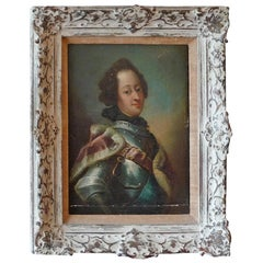 French Oil on Canvas, a Young Prince in Ermin and Armour, Oil on Canvas