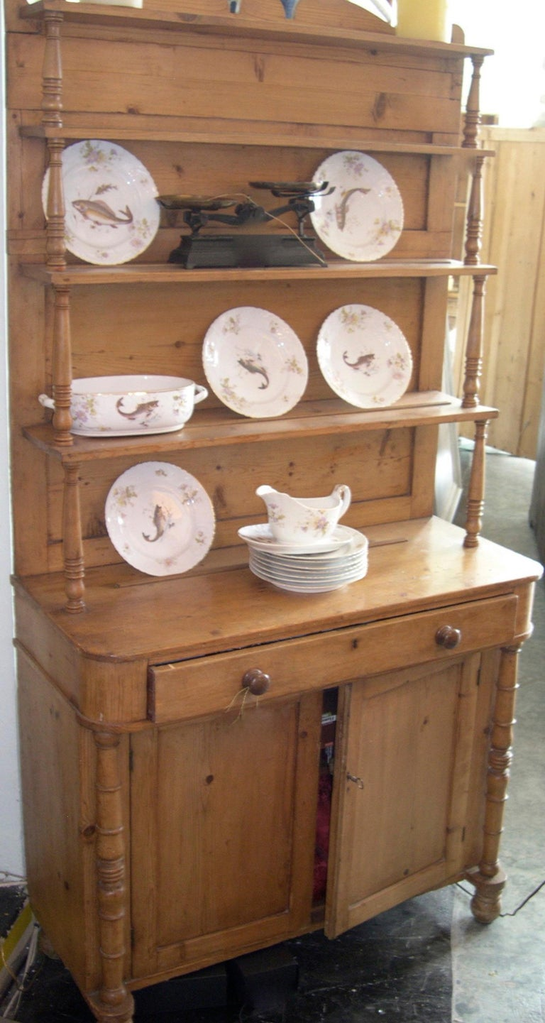 French 19th century open faced kitchen country pinewood dresser with three shelves, two doors and one large drawer.
