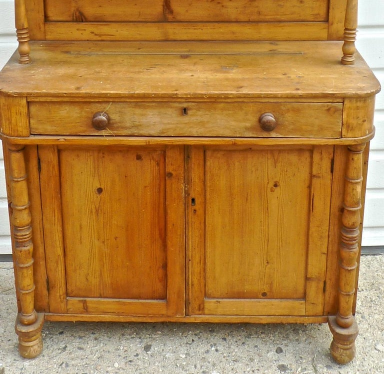 Stained French Open Faced Kitchen Dresser with 3 Shelves, 2 Doors and One Drawer For Sale