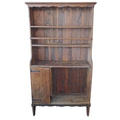 French XIX Open Kitchen Dresser with 3 Shelves and 1 Small Compartment with Door
