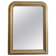 French 19th Century Small Gold-Leaf Louis Philippe Mirror with Original Glass