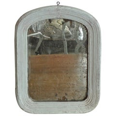 French Small Painted Wood and Gesso Portrait Mirror with Original Glass