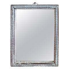 French XIX Small Silver Painted Wood Framed Portrait Mirror with Original Glass