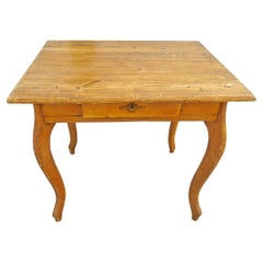 French XIX Small Stained Nursing Table with One-Center Drawer and Cabriole Legs