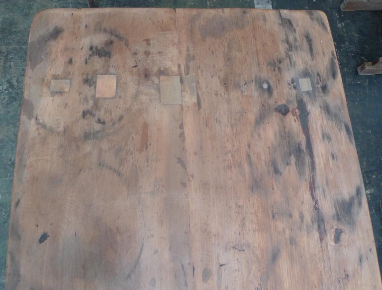 French 19th Century Stained Pinewood Coffee Table Top on Two Pinewood Sawhorses For Sale 8