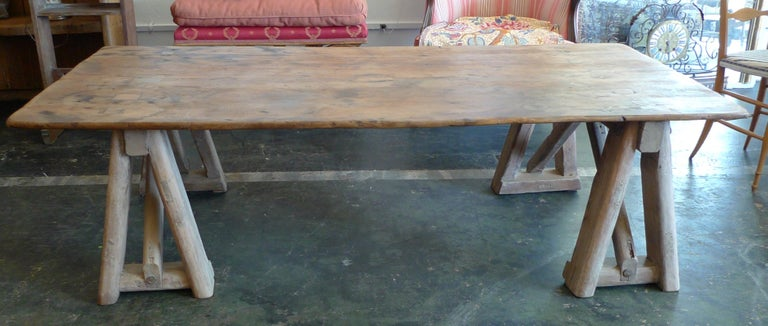 European French 19th Century Stained Pinewood Coffee Table Top on Two Pinewood Sawhorses For Sale