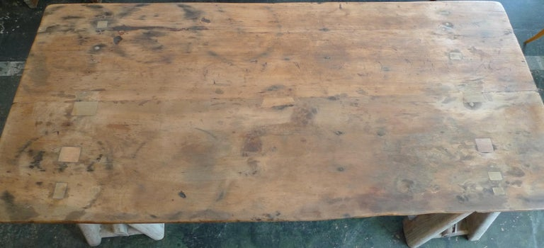 French 19th Century Stained Pinewood Coffee Table Top on Two Pinewood Sawhorses For Sale 1