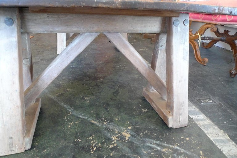 French 19th Century Stained Pinewood Coffee Table Top on Two Pinewood Sawhorses For Sale 5