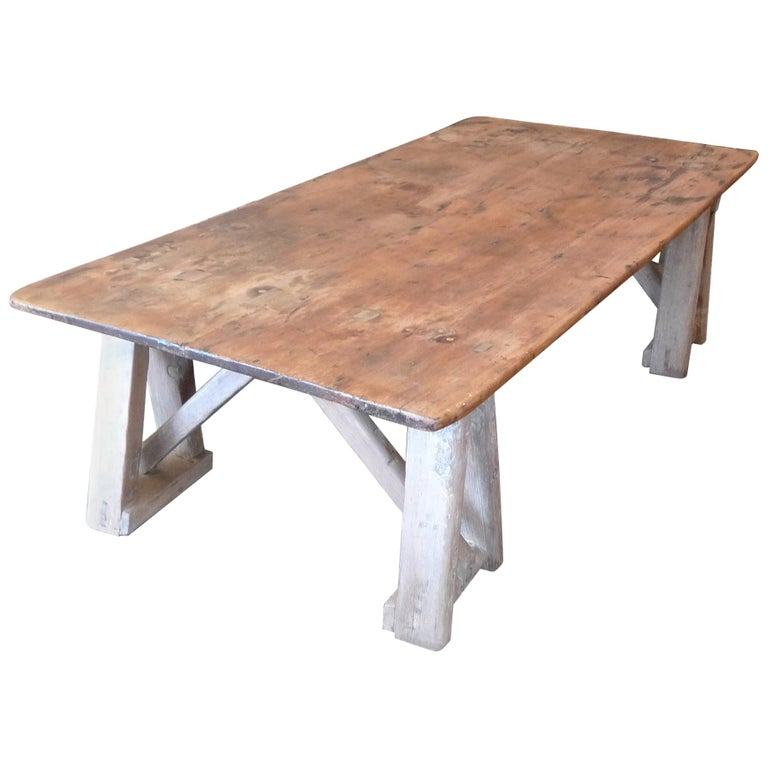 French 19th Century Stained Pinewood Coffee Table Top on Two Pinewood Sawhorses For Sale