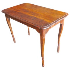 French XIX Stained Walnut Side Table with 2 Small End Drawers and Cabriole Legs.