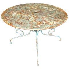 French 19th Century Wrought Iron Painted Bistro Round Table