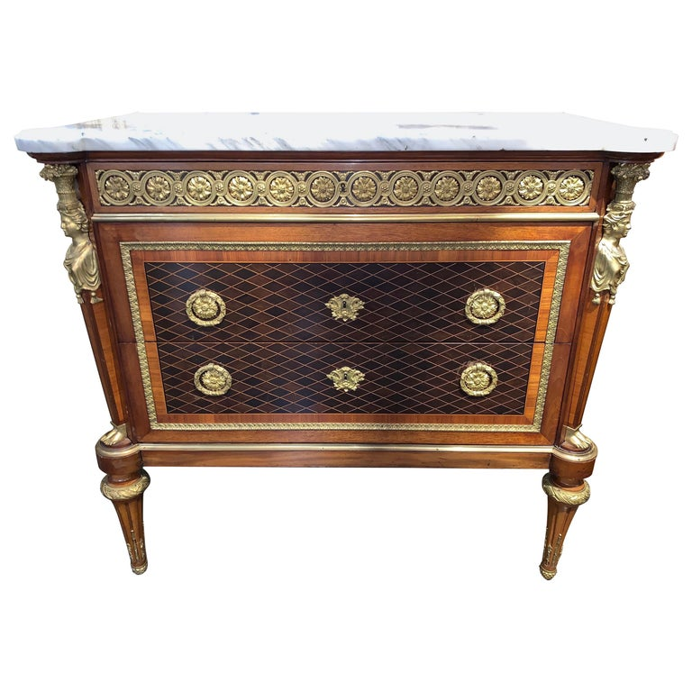 French XVI Style Mahogany Inlaid Commode with Marble Top