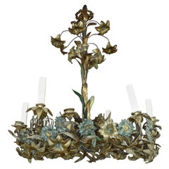 French XVIII Bronze Chandelier with Painted Leaves and 6 Outer Lights