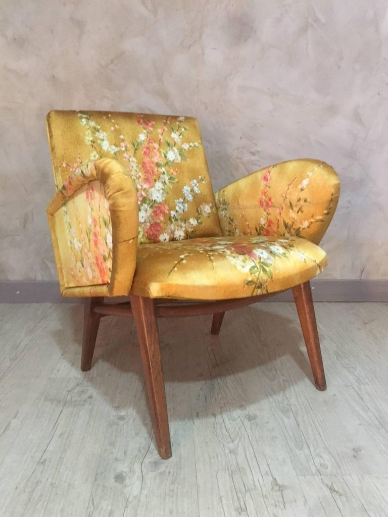French Yellow Floral Fabric Armchair Fully Upholstered ...