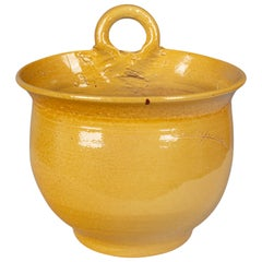 French Yellow Glazed Terracotta Planter