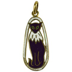 French Yellow Gold Black White Enamel Cat Charm Pendant