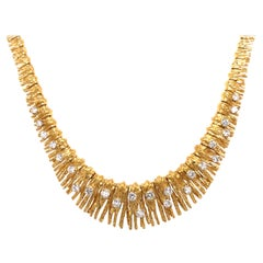 French Yellow Gold Diamond Necklace