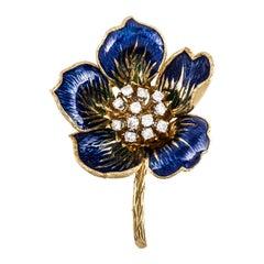 French Yellow Gold Enamel Diamond Flower Pin