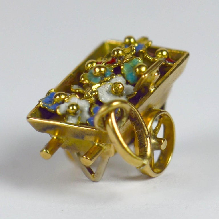 French Yellow Gold Enamel Flower Cart Charm Pendant In Good Condition For Sale In London, GB