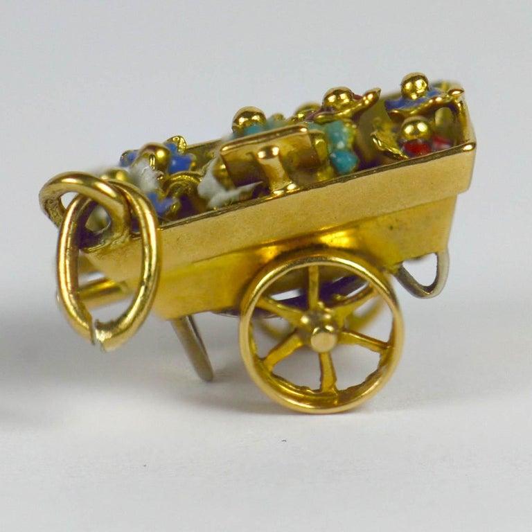 Women's French Yellow Gold Enamel Flower Cart Charm Pendant For Sale