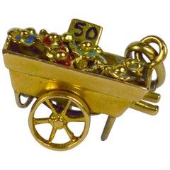 French Yellow Gold Enamel Flower Cart Charm Pendant